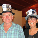Les, our Weighmaster,  and Marina, our Vice President, Stewart out to impress as Mad Hatters....